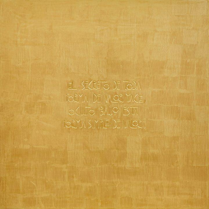 "Willy Kautz, ""Quid Pro Quo (El secreto)"" (2016), gold leaf on wood,100 x 100 cm"