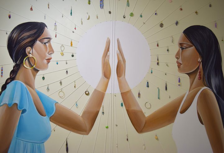 """Detail view of Nani Chacon and Tanaya Winder, """"On Both Sides of the Border ... Women art Still Being Murdered"""" (2017), acrylic, string, earrings"""