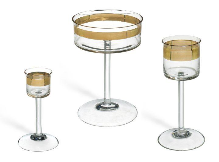 """Peter Behrens, """"Three Drinking Glasses from the Wertheim Set"""" (ca 1902), blown glass (© Musée des Arts Décoratifs, Paris, Jean Tholance)"""