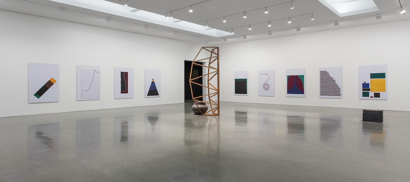 Installation view of <em>Theaster Gates But To Be A Poor Race</em> at Regen Projects (photo by Brian Forrest, all images © Theaster Gates, courtesy Regen Projects, Los Angeles)