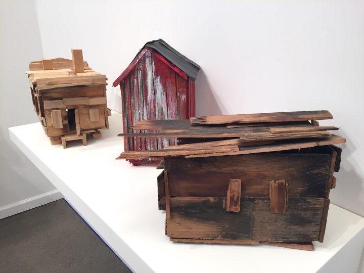 Beverly Buchanan's models of shacks in the Andrew Edlin Gallery booth
