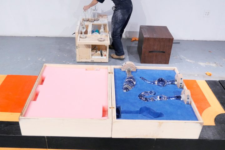 Rotem Tamir and Omri Zin, <em>Larval Acceleration: A Conversation in Chunks</em> (2017), installation view at Locust Projects, Miami
