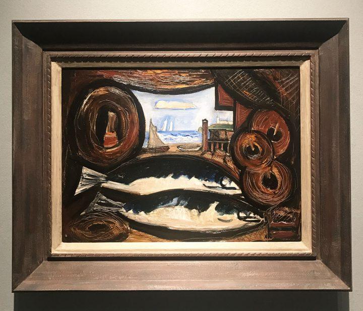 "Marsden Hartley, ""New England Sea View - Fish House"" (1934), oil on academy board, 12 x 24 in (photo Benjamin Sutton/Hyperallergic)"