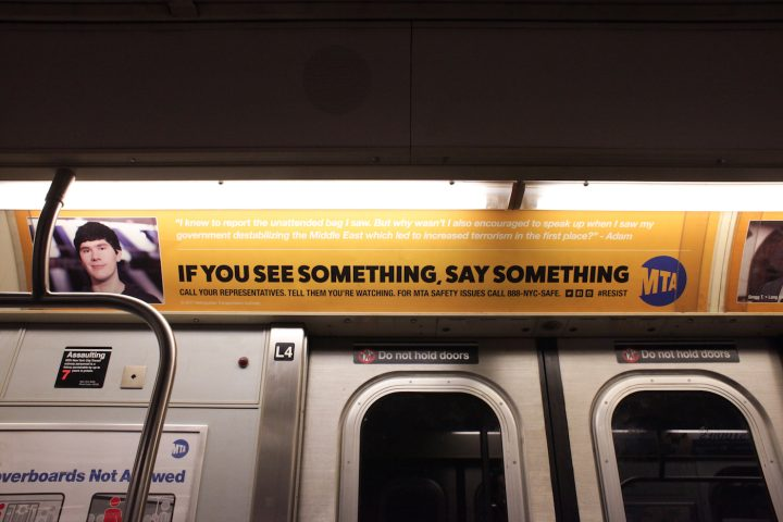 "One of the substitute MTA ads, which reads: ""I knew to report the unattended bag I saw. But why wasn't I also encouraged to speak up when I saw my government destabilizing the Middle East which led to increased terrorism in the first place?"""