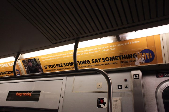 "One of the substitute MTA ads, which reads: ""It's important to report suspicious activity. I feel weird telling people this when I know ratting out a fellow cop for unethical behavior or brutality could make my life a living hell."""
