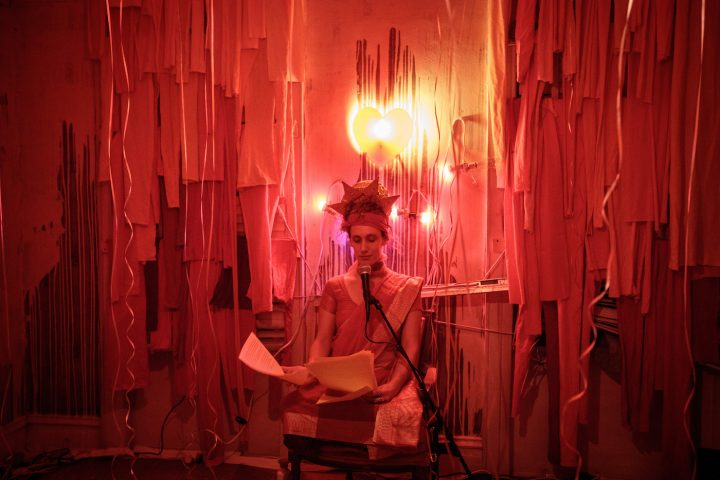 "Heather Morowitz performing in the ""Lightness Room,"" part of Kathryn Sclavi's ""Candela"""