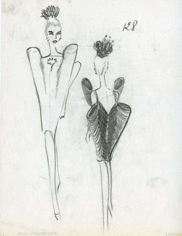 """Cristóbal Balenciaga, drawings of """"Evening Gown, Winter 1967 Collection"""" (1967) (©Balenciaga Archives Paris)"""