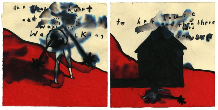 """David Lynch, """"She Was Hurt and Walking to Her House and Then There Was Someone,"""" featured in David Lynch: The Art Life, directed by Jon Nguyen (image courtesy of Janus Films and David Lynch)"""
