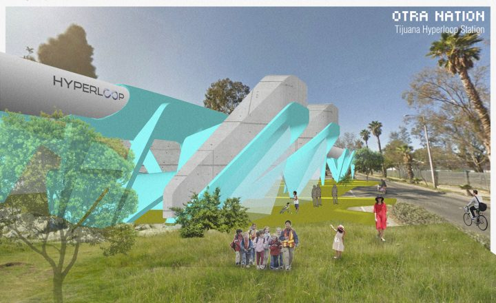 Rendering of the Otra Nation hyperloop station in Tijuana (courtesy MADE Collective)