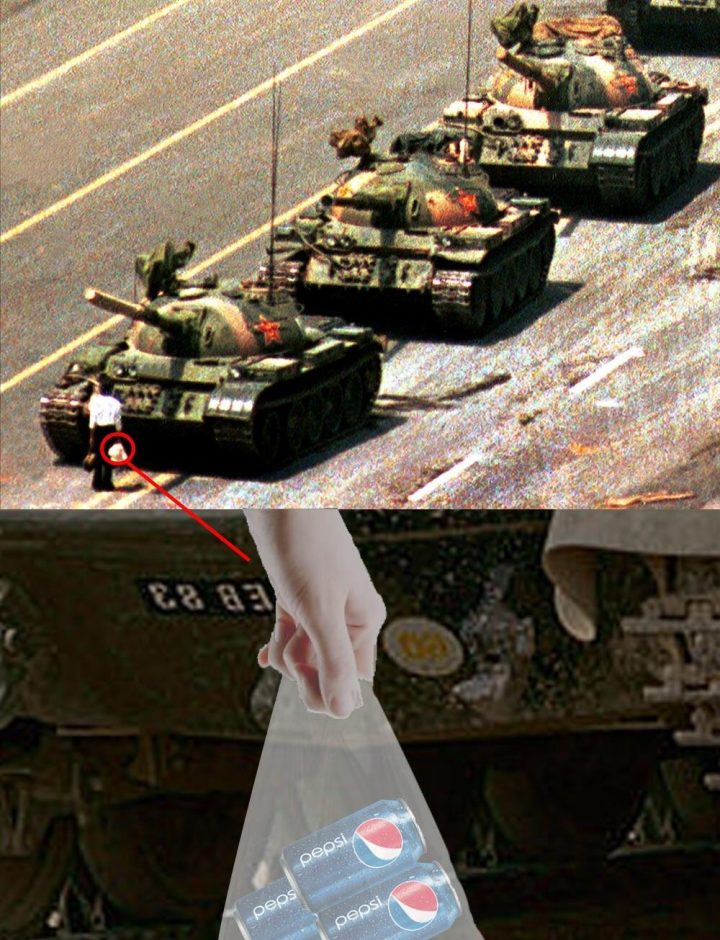 "A new theory behind the ""Tank Man"" image (via KnowYourMeme)"