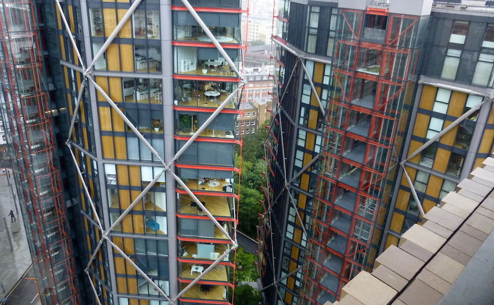 A view of the NEO Bankside apartments from the Tate Switch House observation deck (photo by PaulSHird/Flickr)