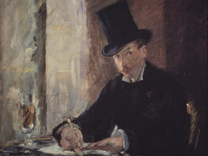 "Édouard Manet, ""Chez Tortoni"" (ca 1875), oil on canvas, 10 1/4 x 13 3/8 in (courtesy Isabella Stewart Gardner Museum, Boston)"
