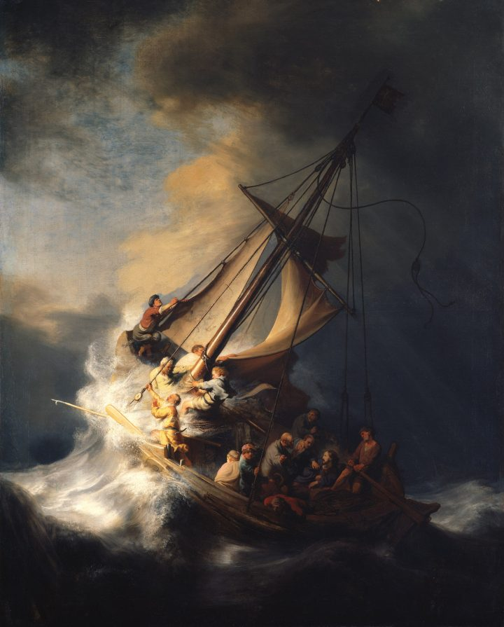 """Rembrandt van Rijn, """"Christ in the Storm on the Sea of Galilee"""" (1633), oil on canvas, 63 x 50 3/8 in (courtesy Isabella Stewart Gardner Museum, Boston)"""