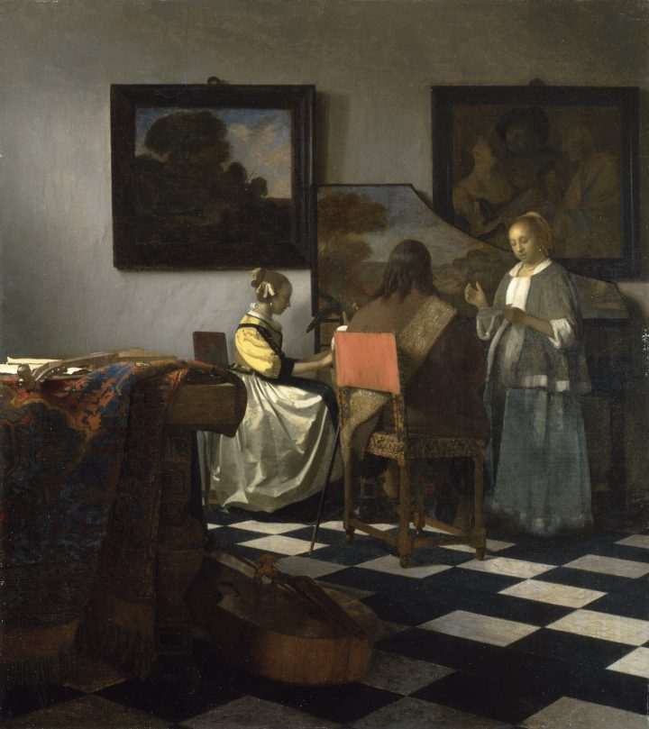 "Jan Vermeer, ""The Concert"" (ca 1665), oil on canvas, 28 9/16 x 25 1/2 in (courtesy Isabella Stewart Gardner Museum, Boston)"