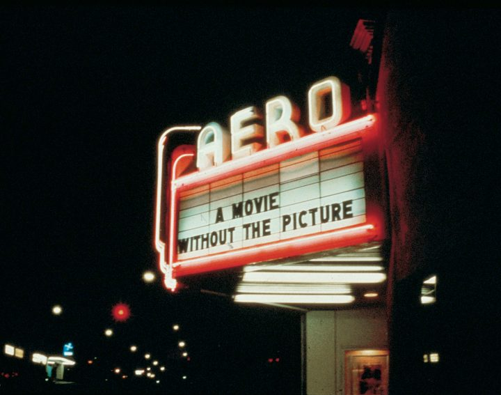 """Louise Lawler, """"Marquee for 'A Movie Will Be Shown Without the Picture' (1979), Aero Theatre, Santa Monica, California, December 7, 1979"""" (courtesy the artist)"""
