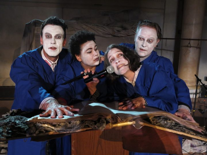 Aidan O'Shea, Regina Strayhorn, Ayun Halliday, and Ben Watts in <em>Faust 3: The Turd Coming, or The Fart of the Deal</em> (all photos by Jonathan Slaff)