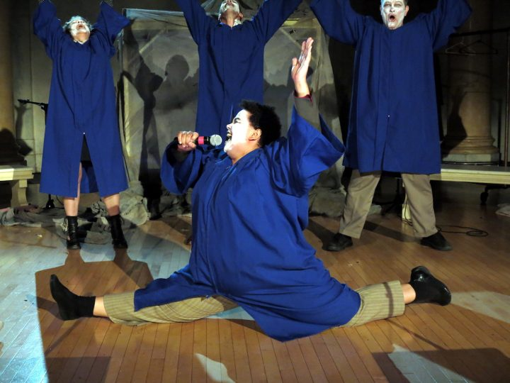 Regina Strayhorn and ensemble in <em>Faust 3: The Turd Coming, or The Fart of the Deal</em>