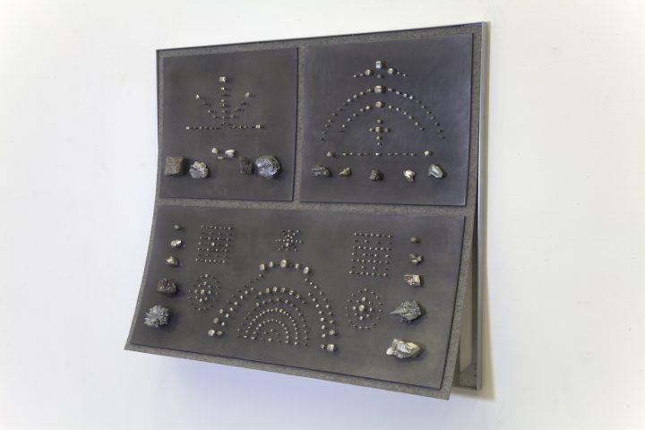 "John Stoney, ""Gems"" (2017), elemental aluminum, antimony, bismuth, cadmium, indium, iron, lead, nickel, silver, tin, zinc, felt, 40 1/2 x 48 x 9 1/2 in"