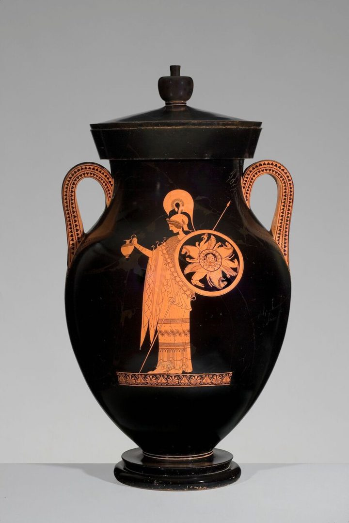 Greek, Attic, attributed to the Berlin Painter, Red-figure amphora of Type A: A, Athena; B, Herakles, ca 500–490 BCE, ceramic, Antikenmuseum Basel und Sammlung Ludwig (image courtesy Antikenmuseum Basel und Sammlung Ludwig; image courtesy Princeton University Art Museum)