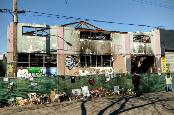 The Ghost Ship warehouse in Oakland three weeks after the deadly fire (photo by Jim Heaphy, via Wikimedia Commons)