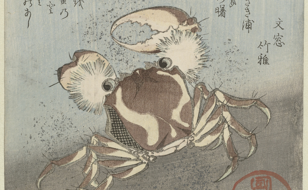 "Utagawa Kunisada, ""Crab runs along water"" (ca 1820–25) (courtesy the Rijksmuseum, via Wikimedia Commons)"
