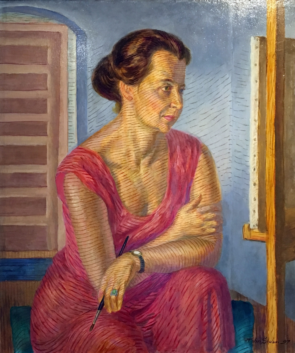 """John Sloan, """"Helen at the Easel"""" (1947), casein tempera underpaint, and oil-varnish glaze on panel (some Shiva Ponsol colors used), gift of the John Sloan Trust"""