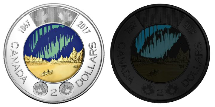 """The glow-in-the-dark """"Dance of the Spirits"""" $2 coin designed by Timothy Hsia (courtesy Royal Canadian Mint)"""