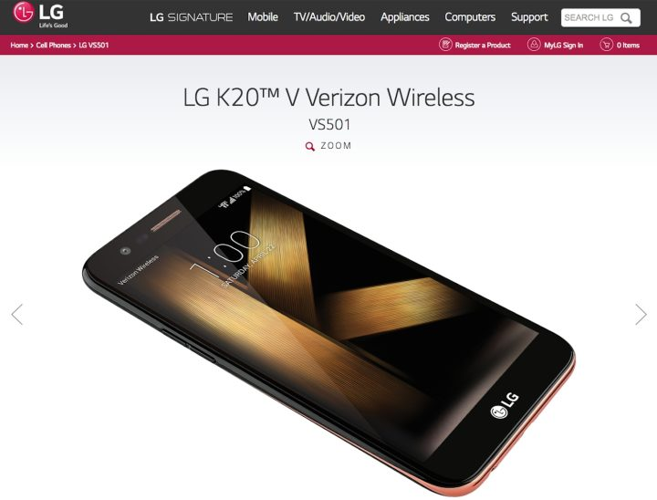 """The LG K20 V, with the derivative image based on Lygia Pape's """"Ttéia 1, C"""" (1976–2004), on LG's website (screenshot by the author)"""