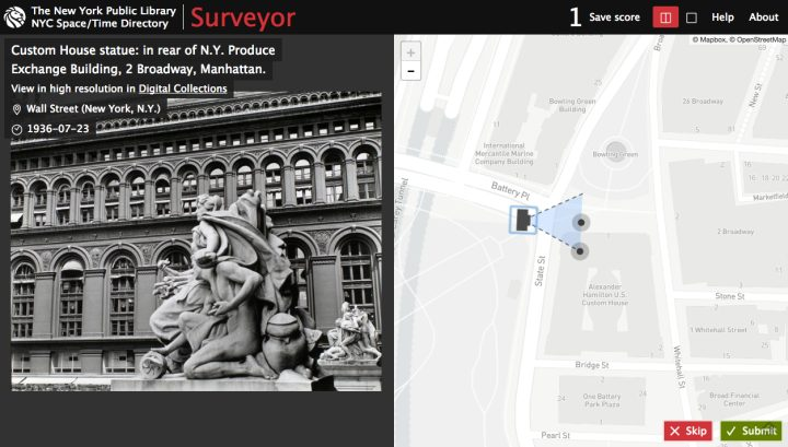 The New York Public Library Space/Time Directory's Surveyor (screenshot by the author for Hyperallergic)