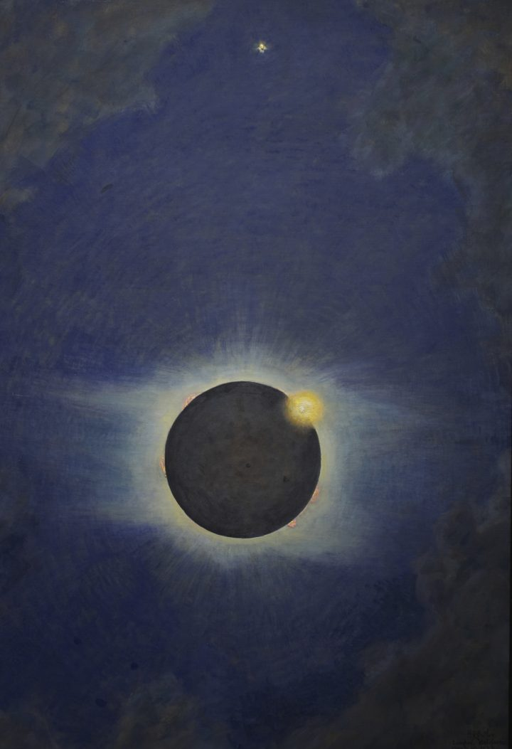 """Howard Russell Butler, """"Solar Eclipse, Lompoc 1923"""" (1923), oil on canvas (gift of H. Russell Butler Jr., courtesy Princeton University Art Museum)"""