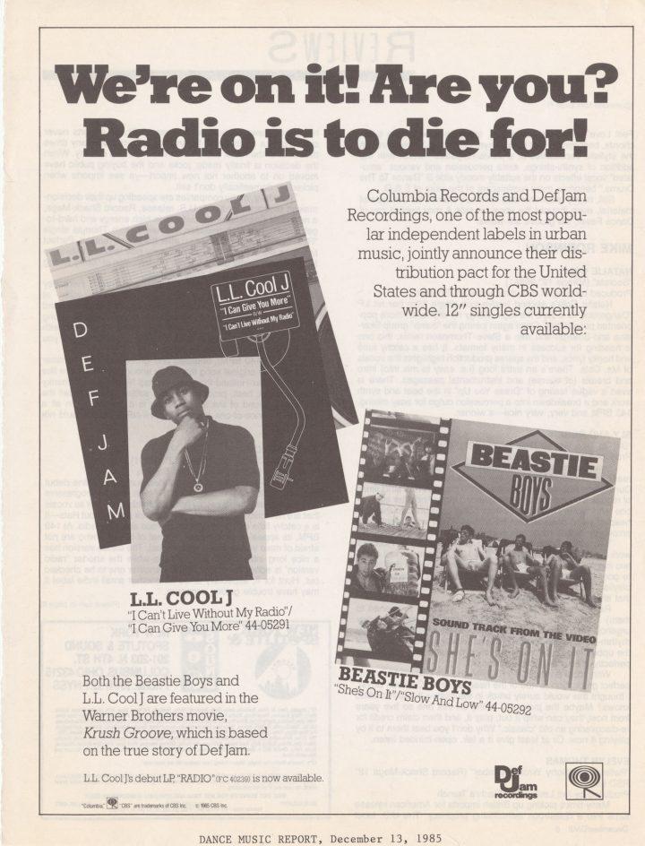 Ad for Def Jam in <em>Dance Music Report</em> (December 13, 1985) (courtesy Cornell University Hip Hop Collection)