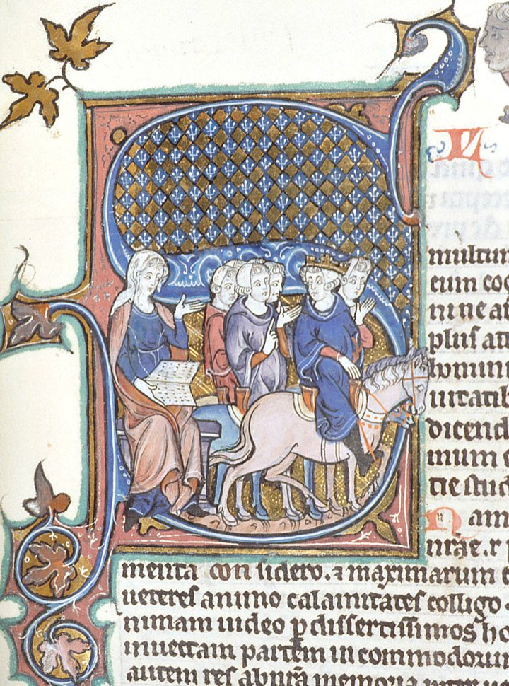 Woman with an open book and a king on horseback, illustrated in MS Burney 275, f.120 (1309-16) (via British Library)