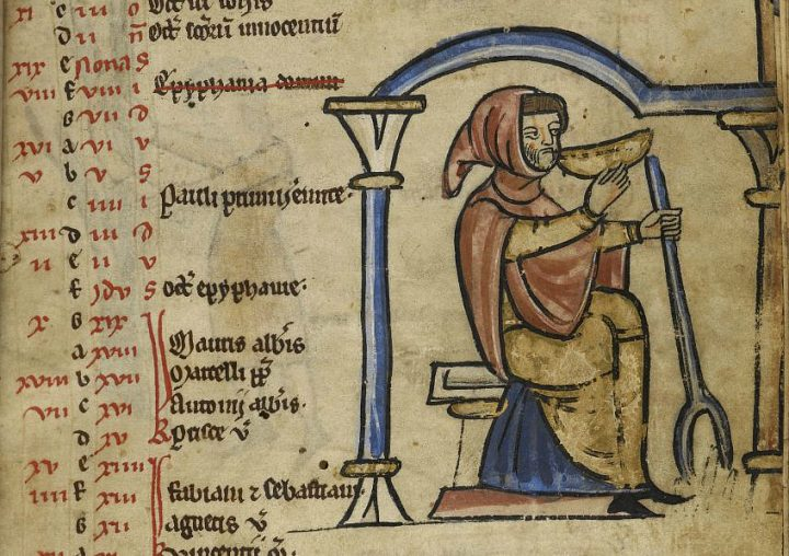 """Illustration of a man drinking from a bowl in the Psalter of Lambert le Bègue (1255-65) (via British Library). The image illustrates """"The Drunkard"""" narrative verse on the Global Medieval Sourcebook"""