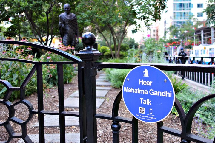 Talking Statues plaque at the Mahatma Gandhi statue in Union Square, Manhattan (photo by the author for Hyperallergic)
