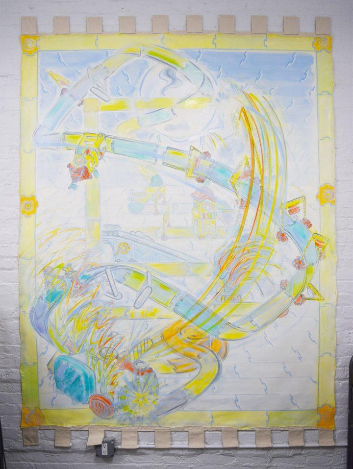 "Guimi You, ""Destroyer"" (2016), in her studio at Aquarius Studios (photo Benjamin Sutton/Hyperallergic)"