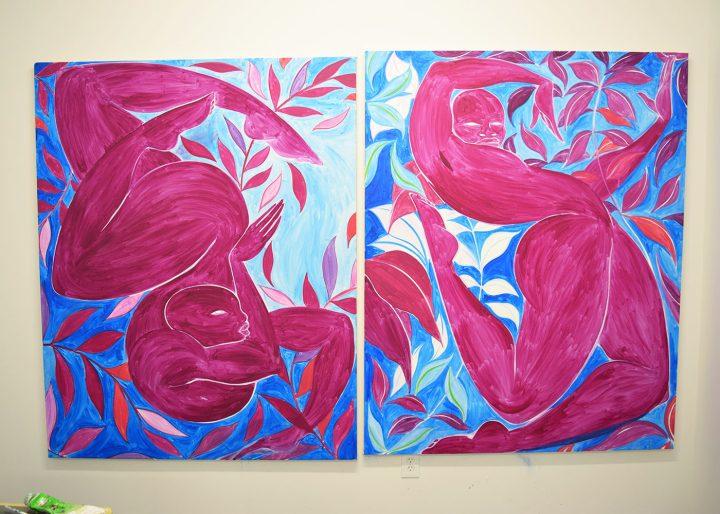 Paintings by Tunji Adeniyi-Jones in his studio at Aquarius Studios (photo Benjamin Sutton/Hyperallergic)