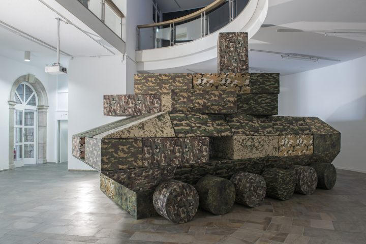 """Andreas Angelidakis, """"Polemos"""" (2017), foam and vinyl seating modules, installation view at the Fridericianum, Kassel, for documenta 14 (photo by Nils Klinger, courtesy Documenta)"""