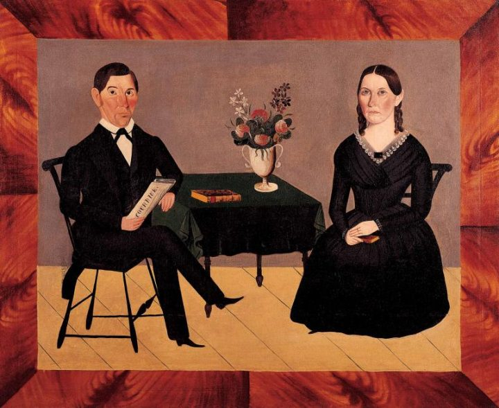 "Sheldon Peck, ""David and Catherine Stolp Crane"" (1845), oil on canvas (Gift of Ralph Esmerian, courtesy American Folk Art Museum)"