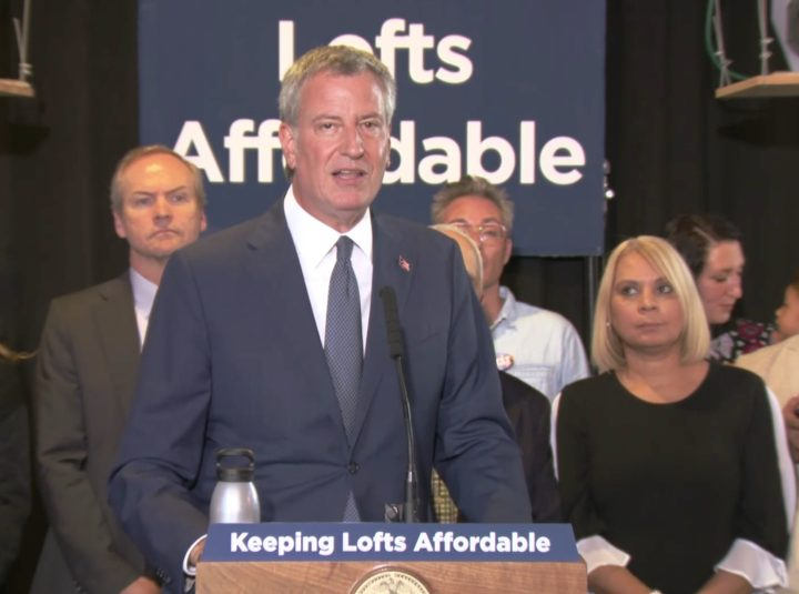New York City Mayor Bill de Blasio during today's press conference announcing proposed revisions to the city's Loft Law. (screenshot by the author via Periscope)