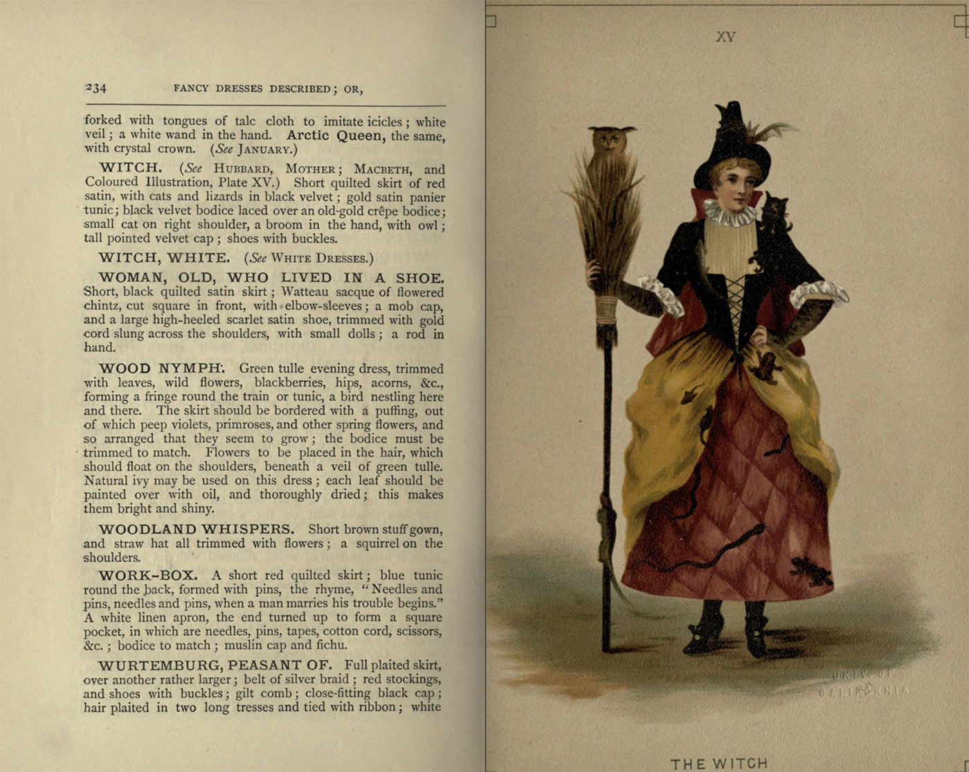 """Costume for """"the Witch"""" from Fancy dresses described : or, What to wear at fancy balls (1887) (via Internet Archive)"""