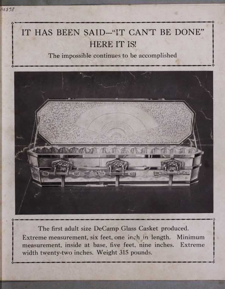 Image from a glass casket catalog (American Glass Casket Company, Ada, Oklahoma, around 1921) (courtesy Corning Museum of Glass)