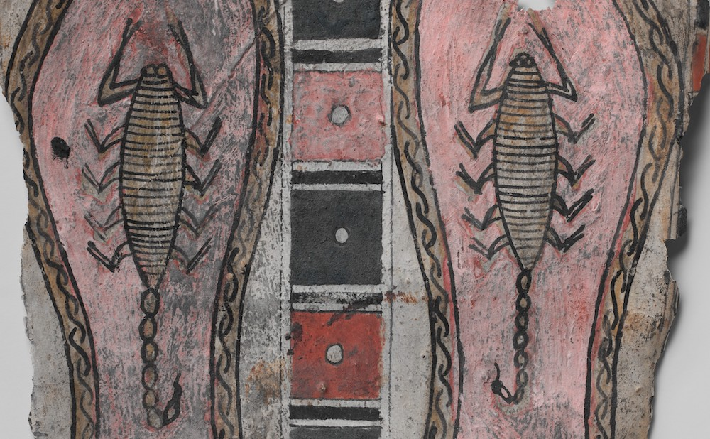 Panel from beneath feet of a cartonnage, with scorpions on soles, Egyptian, late 3rd century BCE–1st century CE; cartonnage, paint, 10 1/2 x 8 11/16 in (Metropolitan Museum of Art, via Wikimedia Commons)