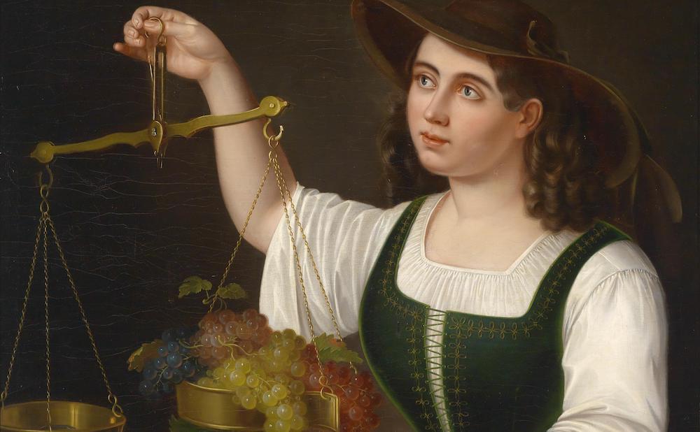 """George Forster, """"Eine junge Marktfrau beim Abwägen von Früchten"""" (1861), Dorotheum (via Wikimedia Commons)"""