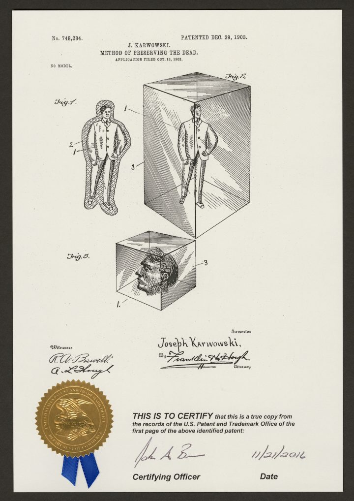 "Joseph Karwowski, ""Method of Preserving the Dead"" (Washington, D.C.: United States Patent Office, 1903) (courtesy Corning Museum of Glass)"