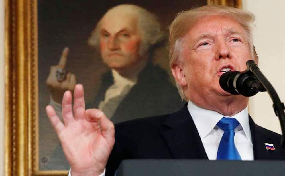 One of the viral images of President Trump, with a photoshopped portrait of George Washington (via @JaimsVanDerBeek/Twitter)