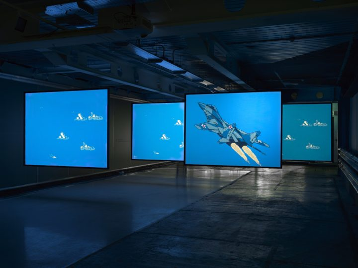 """Cory Arcangel, """"MIG 29 Soviet Fighter Plane and Clouds"""" (2005) (photo by Jack Hems, © Cory Arcangel, courtesy Lisson Gallery)"""