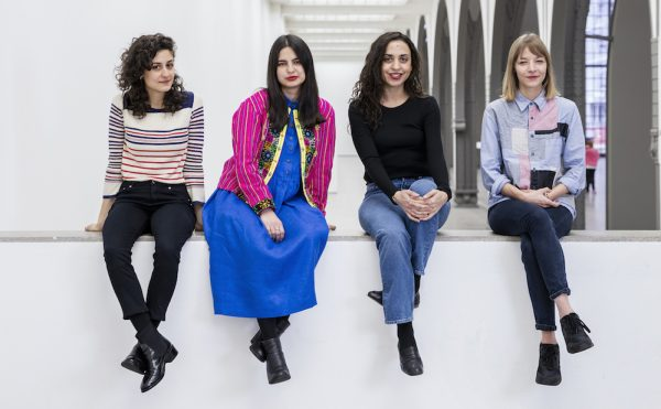 The artists shortlisted for the 2017 Preis der Nationalgalerie: Jumana Manna, Sol Calero, Iman Issa, Agnieszka Polska (from left to right) (photo by David von Becker, courtesy Preis der Nationalgalerie 2017)