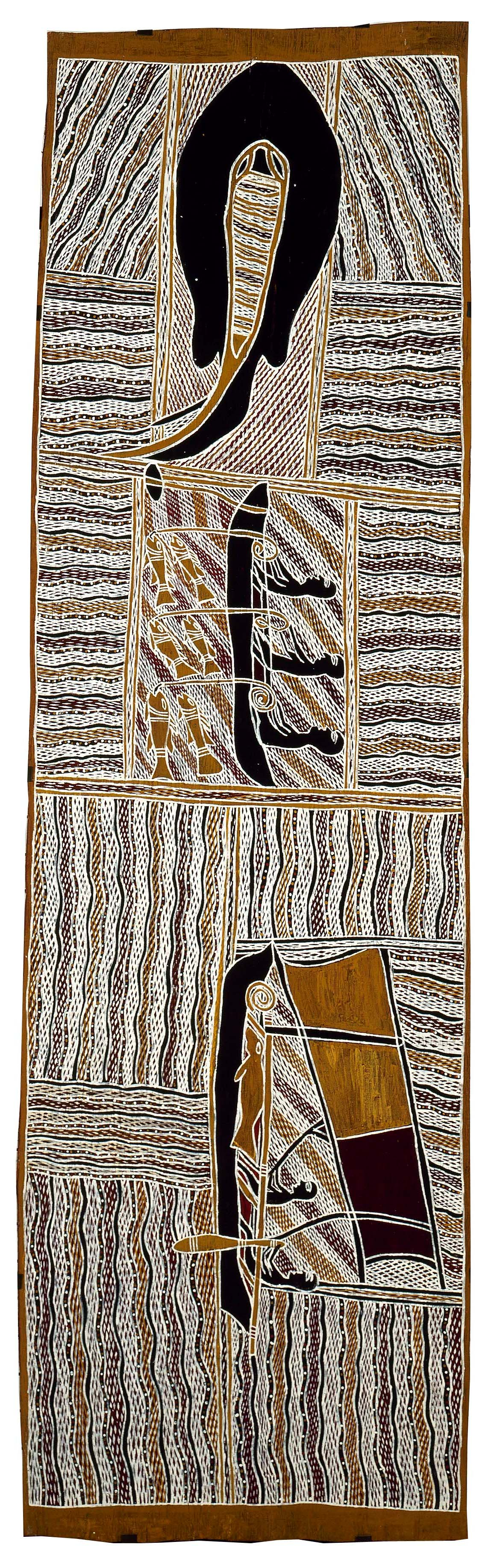 Contemporary Madarrpa, Djambawa Marawili AM, ANMM Collection, (Purchased with the assistance of Stephen Grant and Bridget Pirrie and the GRANTPIRRIE Gallery, reproduced courtesy of the artist and Buku-Larrŋgay Mulka Art Centre)