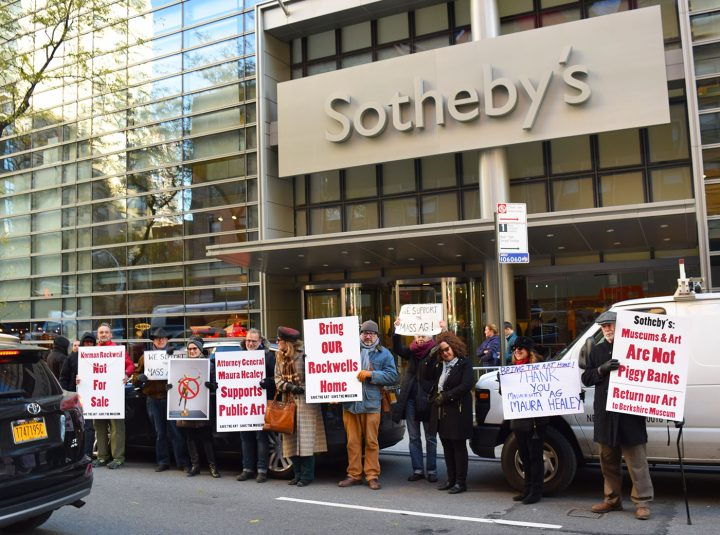 Protesters opposing Sotheby's planned sale of works from the Berkshire Museum collection (all photos by the author for Hyperallergic)