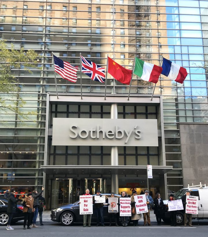 Protesters opposing Sotheby's planned sale of works from the Berkshire Museum collection